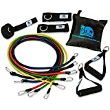 Cayman Fitness Premium Resistance Band Set. The Exercise Band Set Comes with 5 Heavy Duty Bands, Door Anchor, 2 Neoprene Lined Ankle Straps, 2 Comfortable Handles, Carrying Case, Includes Downloadable Exercise Guides and Online Video Library