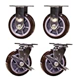 Service Caster SCC-30CS620-PPUR-TLB-2-R620-2 Heavy Duty Swivel Casters, 2 Rigid 2 with Brakes Polyurethane Wheel, 6'' Size (Pack of 4)