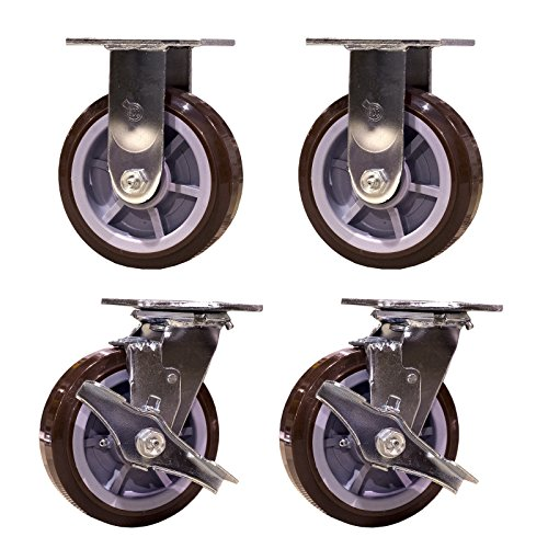 Service Caster SCC-30CS620-PPUR-TLB-2-R620-2 Heavy Duty Swivel Casters, 2 Rigid 2 with Brakes Polyurethane Wheel, 6'' Size (Pack of 4) by Service Caster