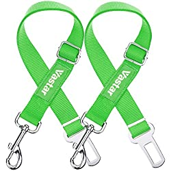 Vastar 2 Packs Adjustable Pet Dog Cat Car Seat Belt Safety Leads Vehicle Seatbelt Harness, Fluorescence Green