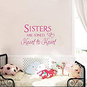 DIY Removable Sisters Wall Stickers Art Decals Wallpaper PVC Self-adhesive Waterproof Stickers Home Decoration Sisters Heart To Heart for Bed Room