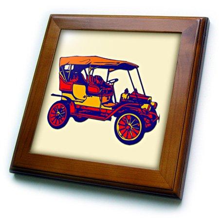 (3dRose ft_216539_1 Antique Car. French Vintage Car. Popular Image. Framed Tile, 8 by 8