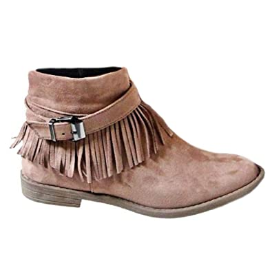 126b809f8ce1 Fashare Womens Western Fringe Booties Cowboy Low Heel Fall Ankle Short  Boots Shoes Tan