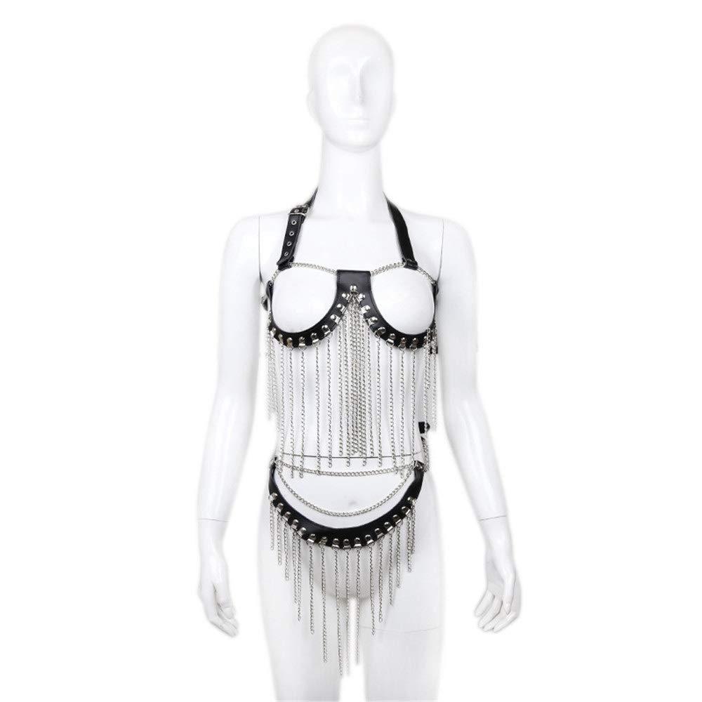 Body Harness Women Punk Faux Leather Chain Cupless Bra Top with Chain Tassels Harness Bikini Lingerie Outfits Halter Panty Nightclub Clubwear Outwear Costumes Body Belt Accessories
