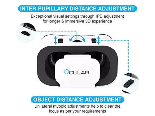 Ocular Swift Fully Adjustable VR Virtual Reality Headset With 42 MM Lenses Glasses for Android/iOS Devices (White)