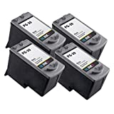 NUINKO 4 Pack Remanufactured Canon PG-30 Ink Cartridge Black for Canon PIXMA MP210 PIXMA MP140 PIXMA MP190 PIXMA iP2600 PIXMA MX310 PIXMA iP1800 PIXMA MP470 PIXMA MX300 Inkjet Printers