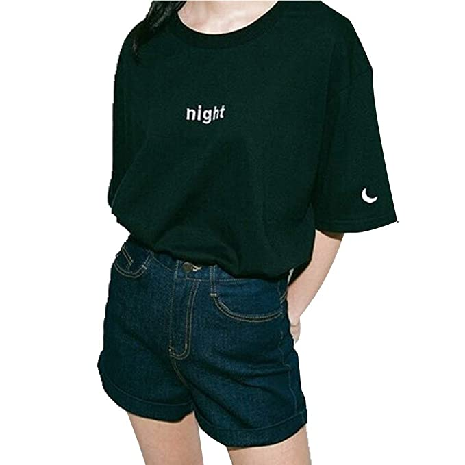 Xiug Women Short Sleeve Night And Day Letter Printing T Shirt Casual