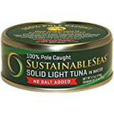 Sustainable Seas Solid Light Tuna in Spring Water, No Salt, 4.1 Ounce (Pack of 12)
