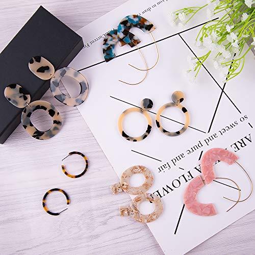 16Pairs Acrylic Earrings Statement Earrings Set Resin Hoop  Dangle Earrings Kits