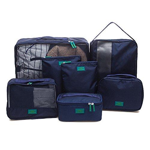 Huluwa Travel Packing Organizer Packing Cubes Waterproof Travel Storage Bags Durable Luggage Organizer, Set of 7, Navy Blue