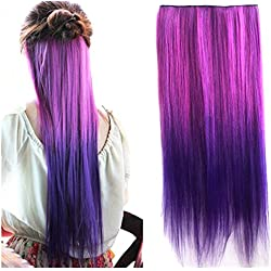 Heahair Fashion Omber Dip-dye Color Red to Purple Synthetic Clip in Hair Extensions (Straight)