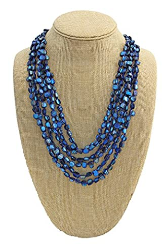 Multi Strand Shell Necklace - Cobalt Blue (Multi Strand Statement Necklace)