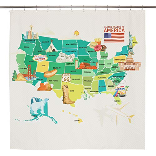 Barossa Blend - Barossa Design Kids Shower Curtain with Map of United States for Bathroom, Geography USA Map, Water Repellent, Washable Fabric, Metal Grommets, 69x72 Inches