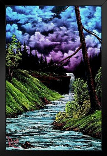 Bob Ross Black Waterfall Art Print Painting Black Wood Framed Art Poster 14×20