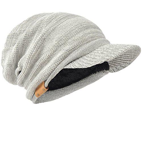 HISSHE Men Oversize Skull Slouch Beanie Large Skullcap Knit Hat (Visor-Pale)