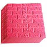 Red Foam Brick Wall Panels, 3D Foam Brick Peel and Stick Wallpaper Self-Adhesive Removable Wall Decor for TV Background, Kids Children Girl Room, Bedroom, Kindergarten/10PACk