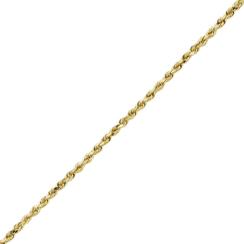 MR. BLING 10K Yellow Gold 2.5mm 8.5'' Solid Diamond Cut Rope Chain Bracelet with Lobster Lock
