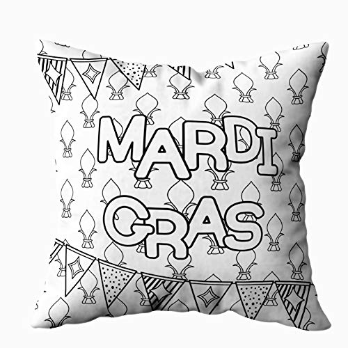 Anucky 18x18 Pillow Cover,Halloween Pillow Covers, Mardi Gras Coloring Page Adult Coloring Book Tuesday for Your Home Printed with Fashion Pattern Soft Case for Bedroom Decorative Pillow Covers