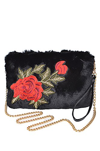 Womens Very Chic Red Rose Patch Attached Faux Fur Clutch Handbags PPC5721 (Black)