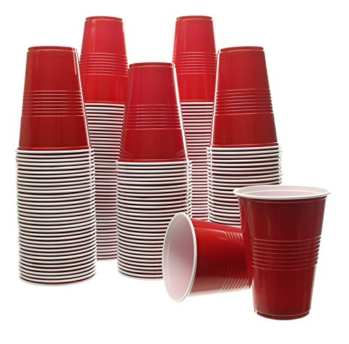 Party Bargains Red Plastic Cups | Plastic Shot Glass, Jello Shots, Jager Bomb, Beer Pong | Perfect Size for Serving Condiments, Snacks, Samples and Tastings | 16 Oz. Cup | 100 Count