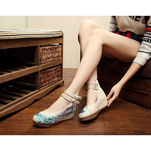 Chaussures Sole Eu Traditionnel Oxfords Phoenix Brod Beige Eagsouni Chinois 39 Casual Danse Mocassins Ballet Femmes PpqwS1gX