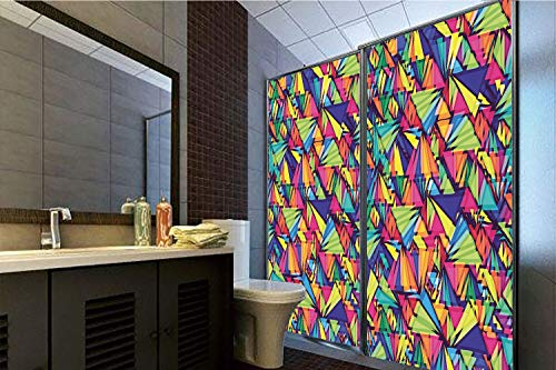 Horrisophie dodo 3D Privacy Window Film No Glue,Indie,Geometrical Hipster Pattern with Triangles Vibrant Optical Illusion Artsy Abstract Decorative,Multicolor,47.24