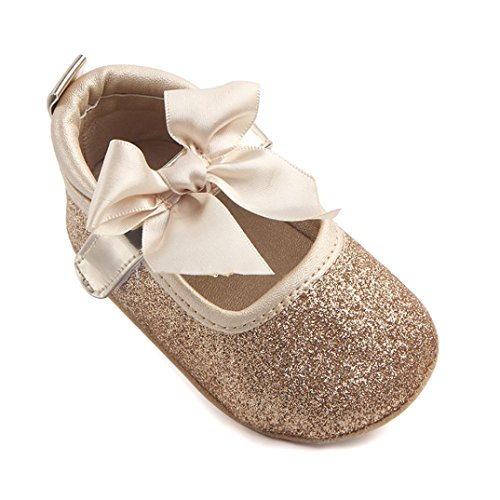 Princess Shoes,Kimanli Fashion Baby Girl Soft Sole Bling Bowknot Anti-slip Shoes (6~12months, Gold) from Kimanli