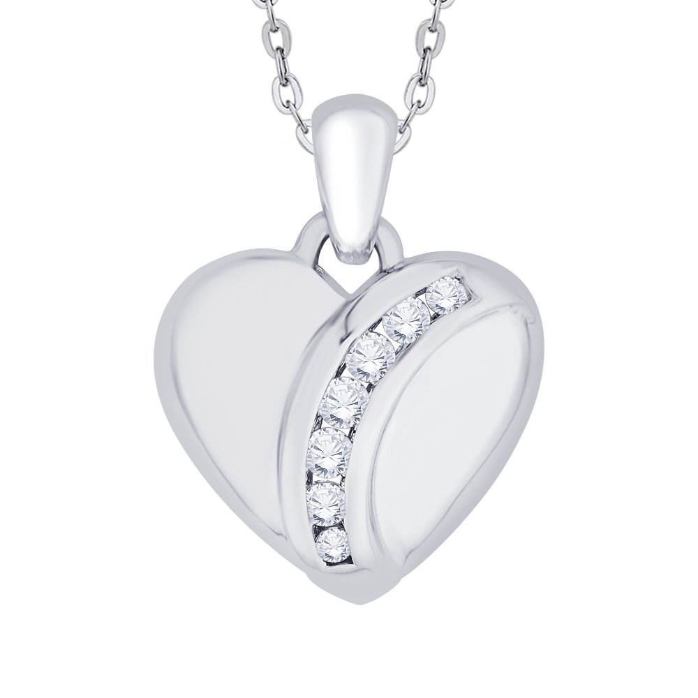 KATARINA Channel Set Diamond Heart Pendant Necklace in Gold or Silver 1//6 cttw, J-K, SI2-I1
