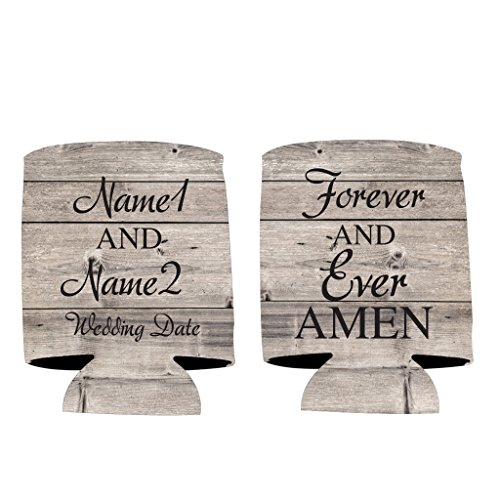 (VictoryStore Can and Beverage Coolers: Neoprene Customizable Rustic Forever And Ever Amen Wedding Can Coolers - Religious Wedding Can Cooler)