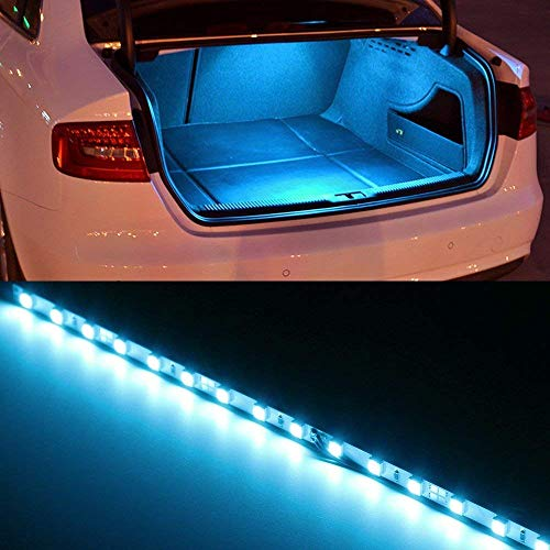 iJDMTOY (1) 18-SMD-5050 LED Strip Light For Car Trunk Cargo Area or Interior Illumination, Ice Blue (Hyundai Elantra 2018 Accessories)