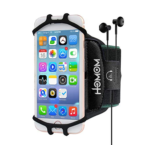 HLOMOM Armband for iPhone X/8 Plus/8/7/6s/6 Plus/iPod Touch, Sports Armband for Androids,Samsung Galaxy,Suit for 4''-6.5''Phone with Case, 360°Rotatable with Earphone & Key Holder (Black)
