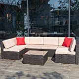 Devoko 7 Pieces Outdoor Sectional Sofa All-Weather Patio Furniture Sets Manual Weaving Wicker Rattan Patio Conversation Sets with Cushion and Glass Table (Brown)