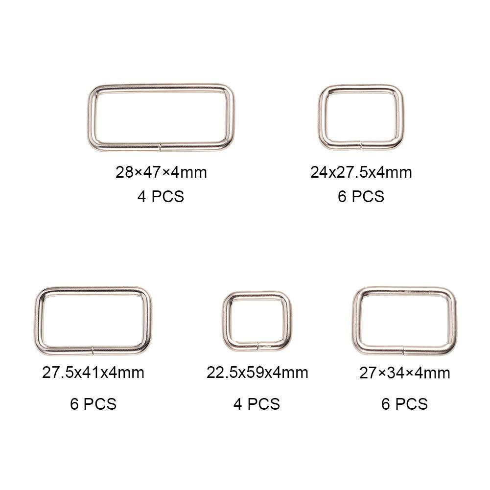 26mm 35mmx21.5mm; Innendurchmesser 2 Mischfarben PandaHall Elite 20 St/ück Iron Slide Schnalle Metall Rectangle Gurtband Slider f/ür Befestigungen Strap Rucksack