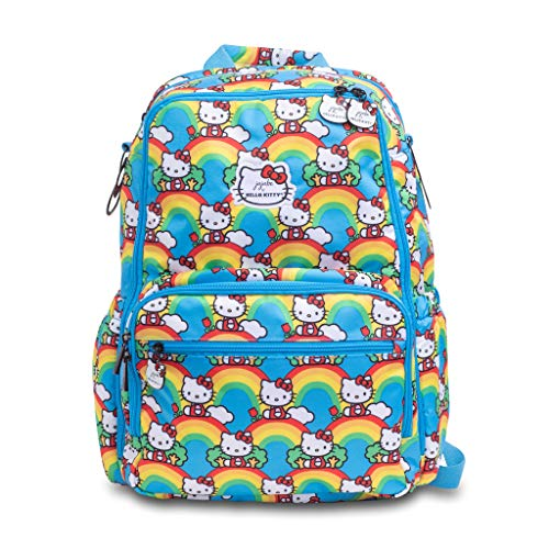 JuJuBe x Hello Kitty Zealous Backpack | Lightweight, Travel-Friendly, Stylish Diaper Bag or Backpack for Kids and Adults, Changing Pad Included | Hello Rainbow