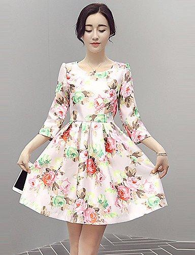 PU&PU Robe Aux femmes Gaine Vintage,Fleur Col Arrondi Au dessus du genou Polyester , pink-xl , pink-xl