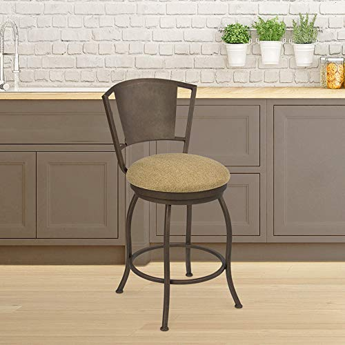"""Taylor Gray Quin 26"""" Counter Height Metal Swivel Barstool in Geneva Harvest Fabric and Copper Bisque"""