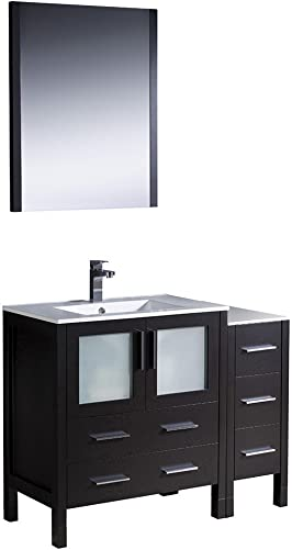 Fresca Bath FVN62-3012ES-UNS Torino 42 Vanity with Side Cabinet and Integrated Sink, Espresso