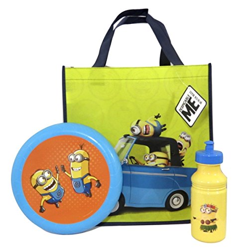[Despicable Me Minions Flying Disc, Pull-top Bottle and Reusable Tote Bundle Su-20 ( Minions in Car] (Baby Megamind Costume)