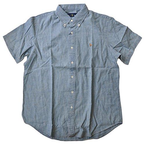(RALPH LAUREN Polo Men's Short Sleeve Denim Sport Shirt, Chambray, M)