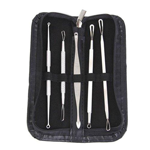 VORCOOL Tartaro Equinox Acne trattamento - aspiratore chirurgico professionale 5 strumenti - facilmente curare brufoli, punti neri, comedoni, Acne e le impurità del viso