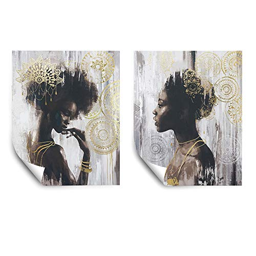 Pi Art Poster African American Gold Art Canvas Wall Art Set, Beauty Portrait Wall Painting Modern Wall Decor for Home Decoration (16x20 inch, A & B Unframed)