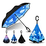 AmbrellaOK Premium Double Layer Compact Inverted Umbrella for Car C-Shaped Hands Free Handle - Reverse Upside Down Folding Design - Lightweight & Windproof - Ideal Gift Men & Women
