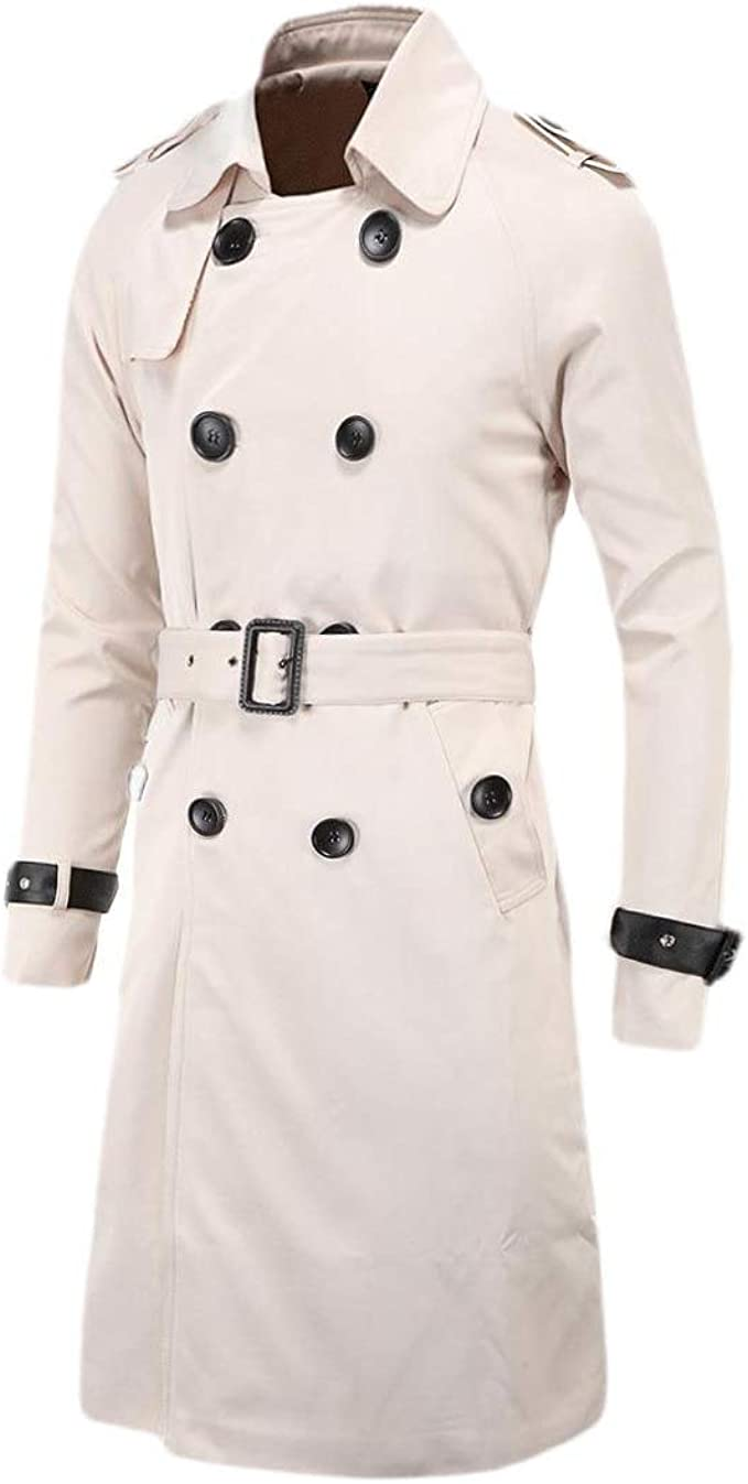 Men/'s Double Breasted Trench Coat Business Pure cotton Jacket Belted Medium Long