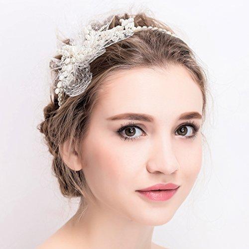 Vintage Ivory Tulle Bridal Tiara Rhinestone Pearl Headband Wedding