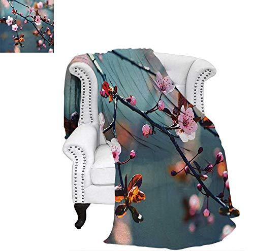 "Custom Design Cozy Flannel Blanket Japanese Blooming Cherry Tree Flowers on Branch Sakura Theme Picture Weave Pattern Blanket 70""x50"" Light Pink Orange and Blue"