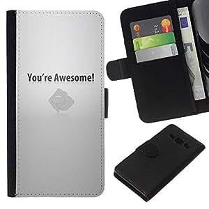 NEECELL GIFT forCITY // Billetera de cuero Caso Cubierta de protección Carcasa / Leather Wallet Case for Samsung Galaxy A3 // Usted es impresionante motivación
