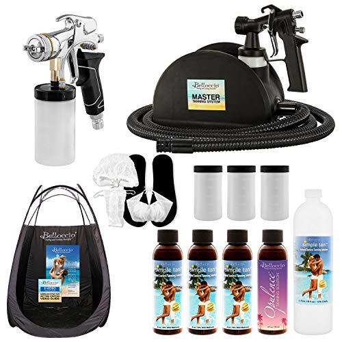 Belloccio Master Pro T95 High Performance Sunless Turbine Spray Tanning System with 2 Application Spray Guns; Pint Simple Tan 12% DHA Solution, Variety Pack, Tent, Accessories & User Guide Video Link ()