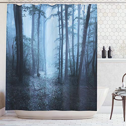 Ambesonne Farm House Decor Collection, Mysterious Dark Forest All in Fog Spooky Atmosphere Wet Humid Fantasy Nature Scene, Polyester Fabric Bathroom Shower Curtain Set with Hooks, Brown White -