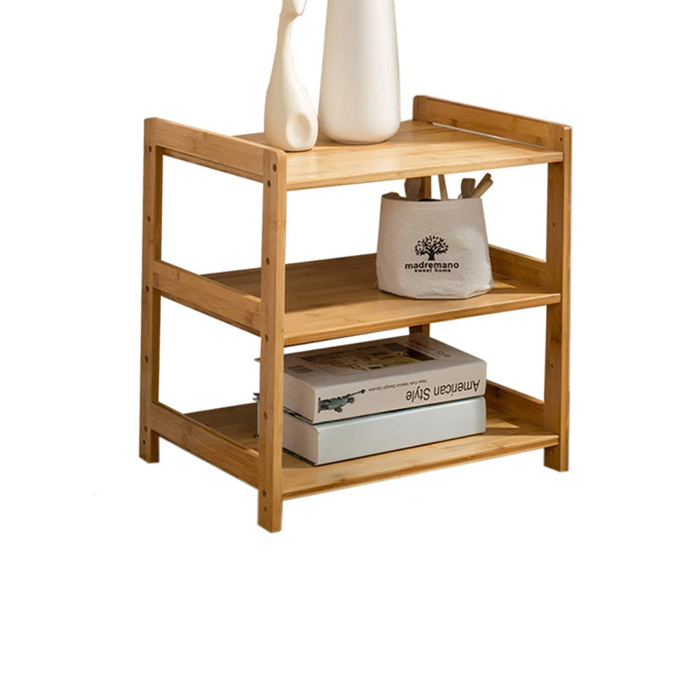 3 layers 403850cm Log color Bamboo DIY Assembly Removable Living Room Bedside Cabinet Nordic Mini Sofa Corner Coffee Table Storage Rack -by TIANTA (Size   3 Layers 45  38  55cm)