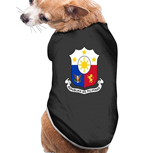 Woaigjhusnf Coat Of Arms Of Philippines Puppy Clothes Dog Dress Plain Sleeveless Cotton Tee T Shirt M Black